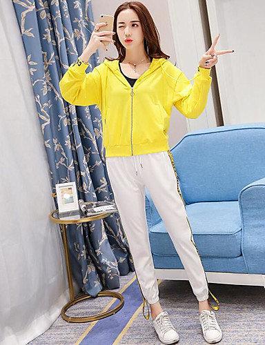 Women's Other Casual Casual Spring Fall Hoodie Pant Suits,Solid Hooded Long Sleeve Cotton/nylon with a hint of stretch