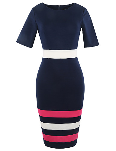Women's Going out / Work Vintage / Casual / Street chic Cotton A Line / Sheath Dress - Striped High Rise / Summer / Fall