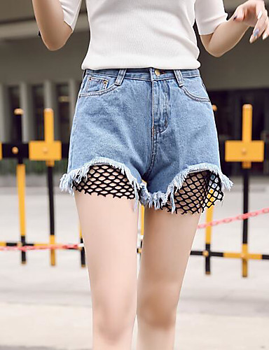 Women's Denim Wide Leg / Shorts Pants - Solid Colored High Waist / Summer / Going out