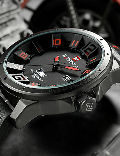 Men's Wrist Watch Quartz Calendar / date / day Cool Leather Band Analog Charm Casual Fashion Black / Brown - Red Black / White White / Brown / Stainless Steel