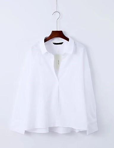 Bomull Lin Medium Langermet,Skjortekrage Skjorte Ensfarget Vår Høst Enkel Gatemote Ut på byen Fritid/hverdag Dame