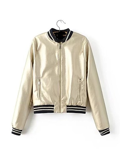 Women's Sports Going out Casual Spring Fall Leather Jacket