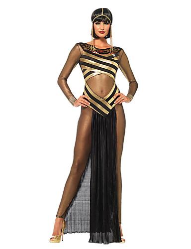 levne Cosplay a kostýmy-Egyptian Costumes velikost Queen Cleopatra Cosplay Kostýmy Kostým na Večírek Dámské Starověký Egypt Halloween Karneval Festival / Svátek Polyester Černá Karnevalové kostýmy Retro
