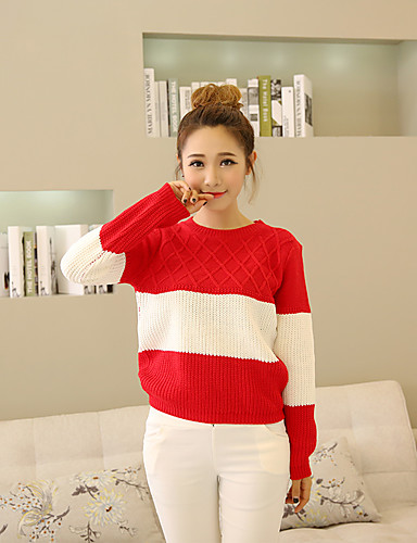 Women's Daily Going out Cute Regular Pullover,Patchwork Round Neck Long Sleeves Others Fall Medium Micro-elastic