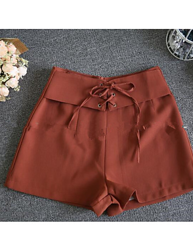 Women's High Rise Inelastic Shorts Pants,Simple Loose Solid