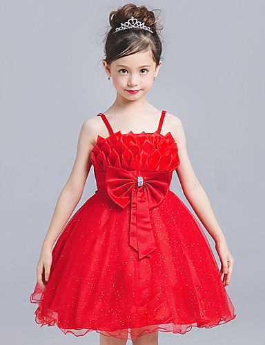 Princess Knee Length Flower Girl Dress - Tulle Sleeveless Strap with Bowknot by Amgam