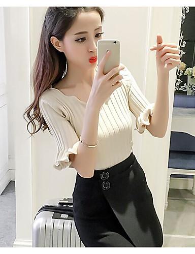 Women's Daily Casual Regular Cardigan,Solid V Neck Half Sleeves Cotton Summer Medium Micro-elastic