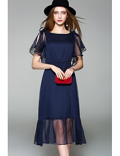 Mulheres Fofo Manga Alargamento Chifon Vestido Sólido Médio
