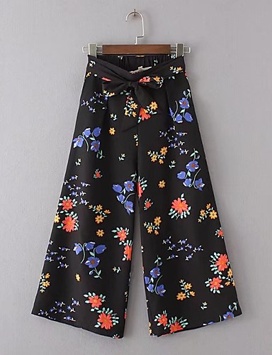 Women's Mid Rise Micro-elastic Loose Chinos Pants,Simple Street chic Floral Polyester Nylon Spring Summer Fall