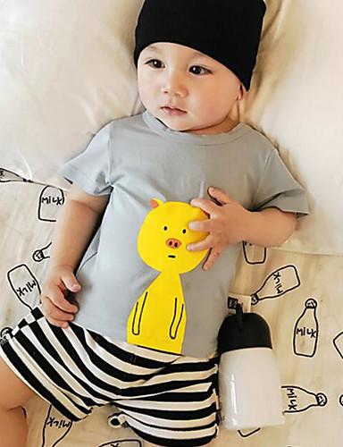 Baby Jente Skjorte Ensfarget Rynker Blå Hvit