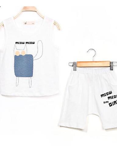Boys' Solid Print Sets,Cotton Summer Sleeveless Clothing Set