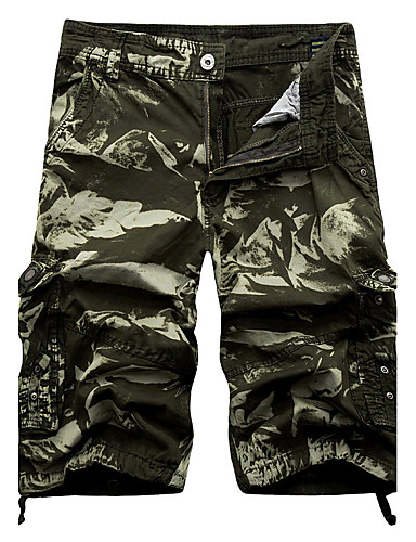 Men's Mid Rise Inelastic Chinos Shorts Pants,Active Chinoiserie Loose Straight Camouflage