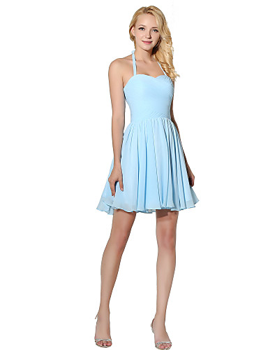 Princess Halter Neck Short / Mini Chiffon Bridesmaid Dress with Side Draping by
