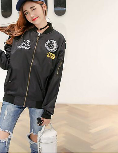 Women's Daily Modern/Contemporary Spring Jacket,Print Stand Long Sleeve Regular Others Chinlon