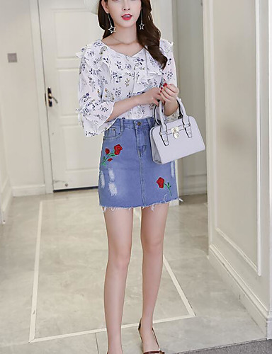 Women's Daily Casual Summer T-shirt Skirt Suits,Floral Embroidery V Neck 3/4 Length Sleeve Cotton Micro-elastic