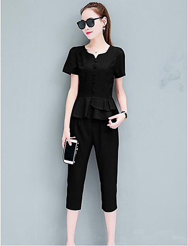 Women's Daily Casual Summer Shirt Pant Suits,Solid V Neck Short Sleeve Cotton Inelastic