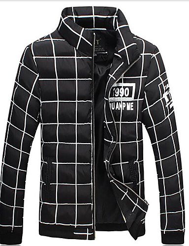 Men's Short Padded Coat,Simple Daily Print Letter & Number-Cotton Others Cotton Long Sleeves