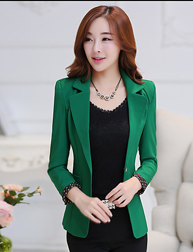 Women's Business Modern/Comtemporary Spring/Fall Trench Coat,Solid Round Dots Shirt Collar Long Sleeve Regular Cotton