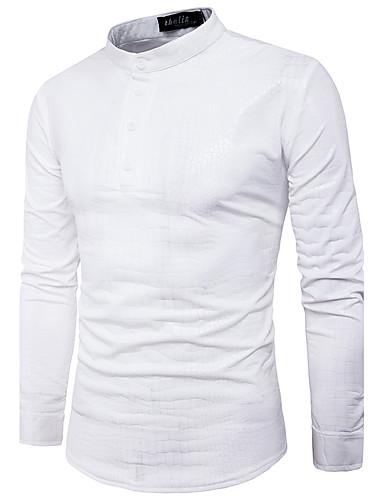 821f0f69a373 Ανδρικά Πουκάμισο Κομψό στυλ street - Βαμβάκι Μονόχρωμο Κολάρο Πουκαμίσου  Λεπτό Βασικό Λευκό L   Μακρυμάνικο