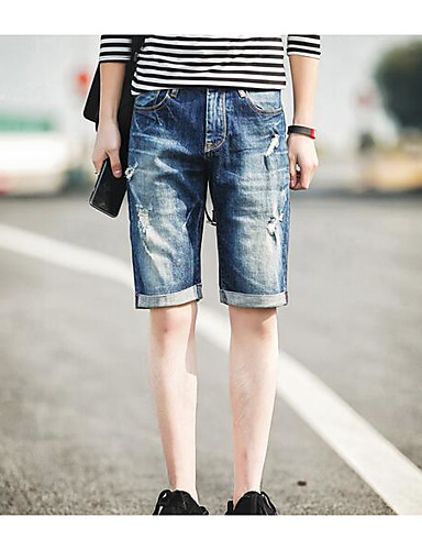 Men's Mid Rise Inelastic Shorts Pants,Simple Relaxed Solid