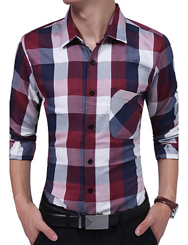 Bomull Rayon Tynn Langermet,Skjortekrage Skjorte Geometrisk Fargeblokk Alle årstider Vintage Fritid Daglig Arbeid Plusstørrelser Herre