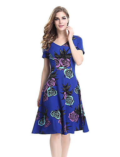 Women's Party Work Plus Size Vintage A Line Swing Dress,Floral V Neck Knee-length Short Sleeves Polyester Spandex Summer All Seasons High