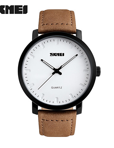 SKMEI Homens Quartzo Relógio de Pulso Venda imperdível Couro Legitimo Banda Amuleto Fashion Marrom