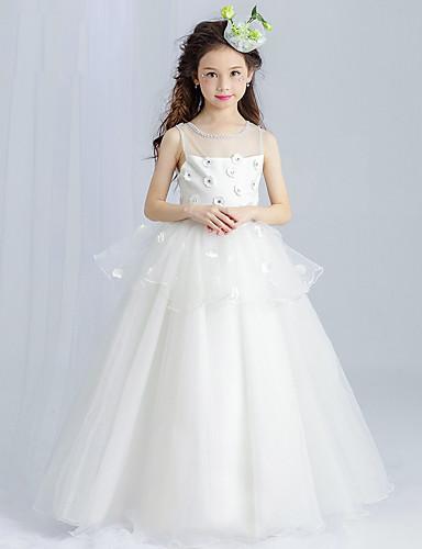 Princess Floor Length Flower Girl Dress - Tulle Sleeveless Scoop Neck with Beading by Amgam