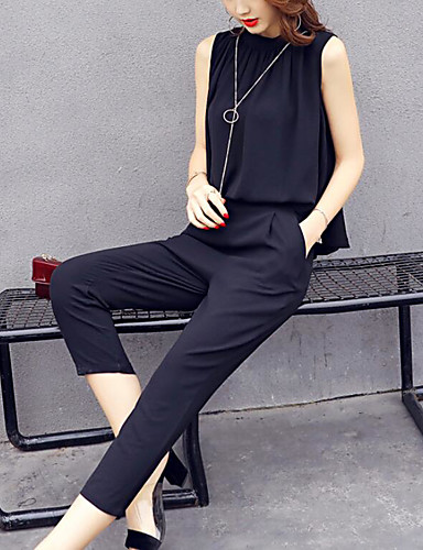 Women's Daily Contemporary Summer Blouse Pant Suits,Solid Crew Neck Sleeveless Micro-elastic