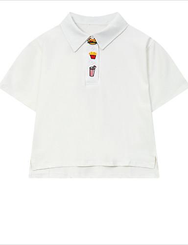 Bomull Kortermet,Peter Pan-krage T-skjorte Ensfarget Sommer Enkel Fritid/hverdag Dame