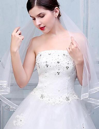 Duas Camadas Borda com Tira Véus de Noiva Véu Cotovelo Véu Ponta dos Dedos Com Cadarço de Borracha Tule