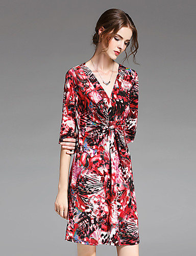 ZIYI Women's Holiday Going out Vintage Sophisticated Sheath Dress,Print V Neck Above Knee Half Sleeves Polyester Summer Mid Rise Inelastic