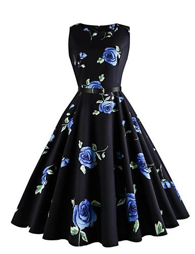 Mulheres balanço Vestido - Pregueado, Floral