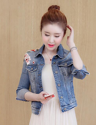 Women's Simple Casual Denim Jacket - Solid Colored, Print Embroidered Shirt Collar