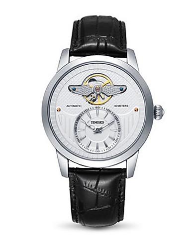 Men's Fashion Watch Mechanical Watch Quartz Genuine Leather Band Black Brown