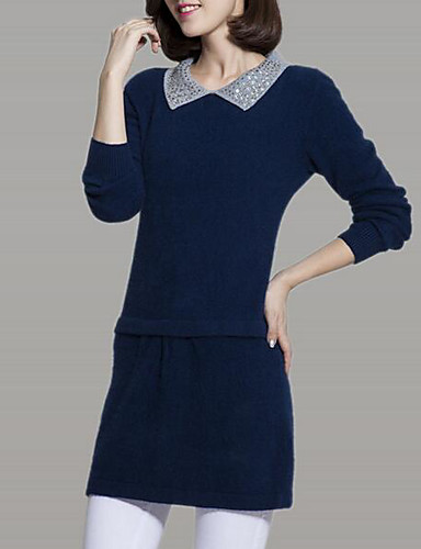 Women's Casual/Daily Simple Long Pullover,Solid Round Neck Long Sleeves Others Winter Fall Medium Micro-elastic