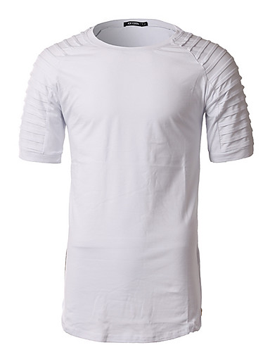 Men's Going out Simple T-shirt,Solid Round Neck Short Sleeves Cotton