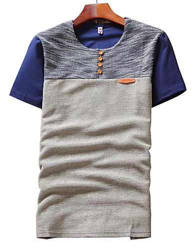 Polyester Solid Kortermet,Rund hals T-skjorte Fargeblokk Sommer Enkel Fritid/hverdag Herre