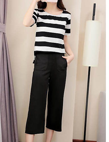 Women's Shirt - Solid Striped Pant