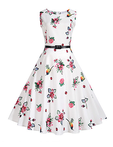 Women's Party Daily Holiday Going out Vintage Sexy Street chic Sheath Dress,Floral Round Neck Midi Sleeveless Polyester Summer High Rise