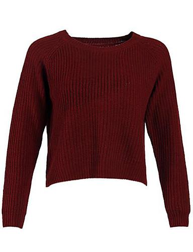 Damen Kurz Pullover-Lässig/Alltäglich Solide Rundhalsausschnitt Langarm Baumwolle Herbst Mittel Mikro-elastisch