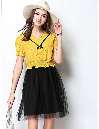 Damen Zweiteiler Kleid-Lässig/Alltäglich Einfach Solide V-Ausschnitt Knielang Kurzarm Polyester Sommer Mittlere Hüfthöhe Mikro-elastisch