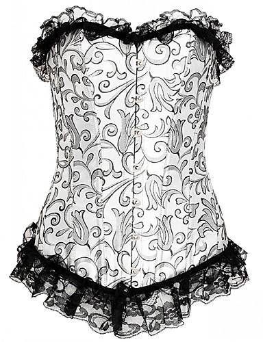 Women's Hook & Eye Overbust Corset-Floral,Lace