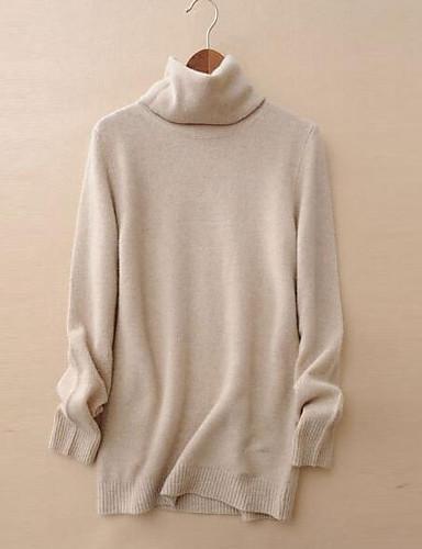 Damen Standard Pullover-Lässig/Alltäglich Solide Rollkragen Langarm Baumwolle Frühling Winter Mittel Mikro-elastisch