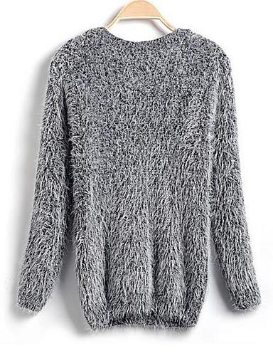 Damen Standard Pullover-Strand Solide Rundhalsausschnitt Langarm Andere Frühling Herbst Mittel Mikro-elastisch