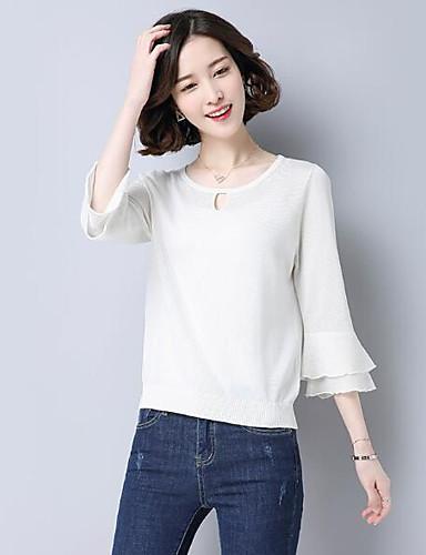 Damen Kurz Pullover-Lässig/Alltäglich Solide Rundhalsausschnitt 3/4 Ärmel Leinen Andere Sommer Dünn Mikro-elastisch