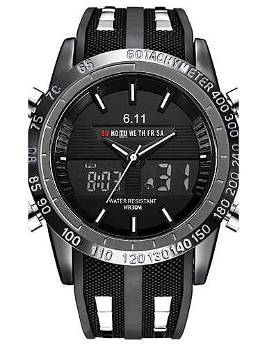 Men's Casual Watch / Sport Watch / Military Watch Japanese Calendar / date / day / Chronograph / Water Resistant / Water Proof Silicone Band Luxury / Vintage / Casual Black / Stainless Steel / LED