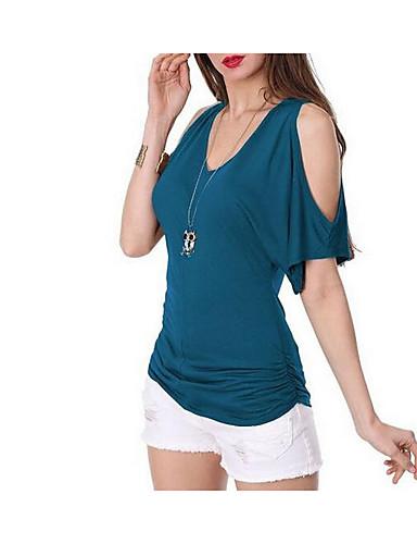 Damen Solide Einfach Lässig/Alltäglich T-shirt,V-Ausschnitt Frühling Kurzarm Acryl Polyester Undurchsichtig