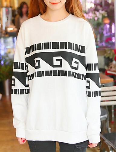 Damen Pullover Lässig/Alltäglich Druck Rundhalsausschnitt Unelastisch Baumwolle Lange Ärmel Winter