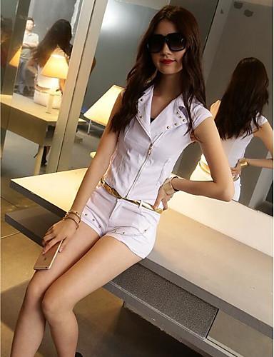 Damen Solide Einfach Lässig/Alltäglich Shirt Hose Anzüge,Hemdkragen Sommer Ärmellos Unelastisch